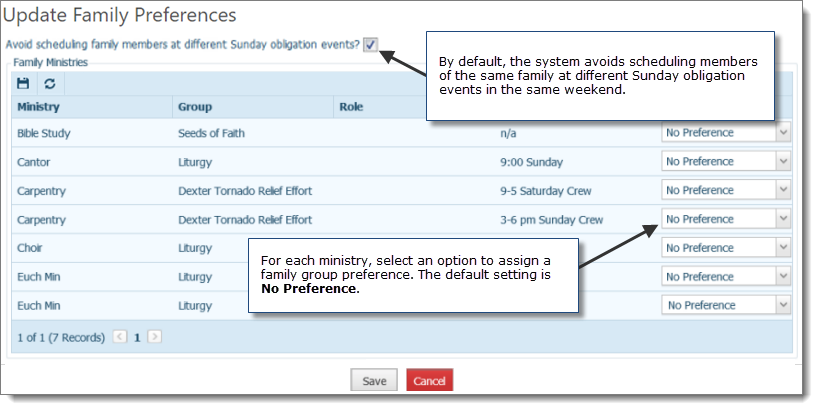 The Settings In This Dialog Box Enable You To Coordinate A Family S Schedule By Igning Their Scheduling Preferences On Ministry Basis